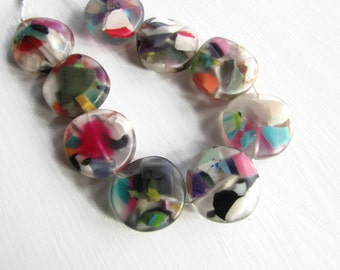 Large coin Resin Beads, clear matte chunky Confetti flat round disc, multicolored speckled  indonesia  - 2 pcs  / 45  mm - 6CB1-4