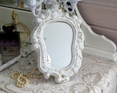 Shabby Paris  Vintage Chic Ornate Wall Mirror Unique Shaped Distressed Wall mirror