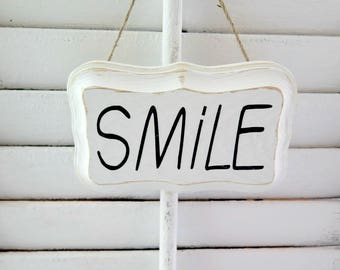 Wood Sign SMILE,  Farmhouse Inspired Hanging Wood Sign, Rae Dunn Inspired