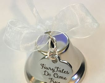 "Wedding Bell, ""Fairy Tales Do Come True"" Heart Charm, Bell Ornament, Wedding Party Favor,  Reception Table Decor, Bridal Shower Gift"
