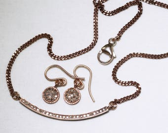 Pavé Diamond Necklace Rose Gold Necklace Precious Diamond Necklace Real Diamond Necklace April Birthstone Necklace PD-N-130-rg