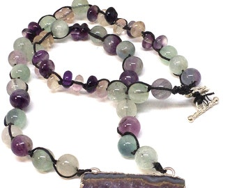 Amethyst Necklace, Amethyst Necklaces for Women, Gemstone Necklace for Women, Fluorite Necklace, February Birthstone, Birthstone Necklace