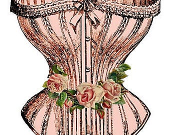French Corset & Roses Reproduction Fabric Crazy Quilt Block Free Shipping World Wide