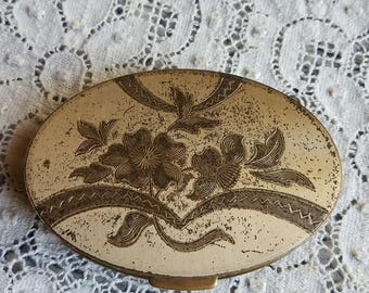 Vintage Oval Compact Mirror Gold Tone Floral Design