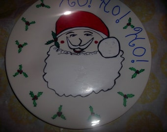 Original Artwork Painted the Giving Plate with Christmas Santa Unisex Party Table Decor Favor Teacher Friend Grandparent Snack Cookie Tray