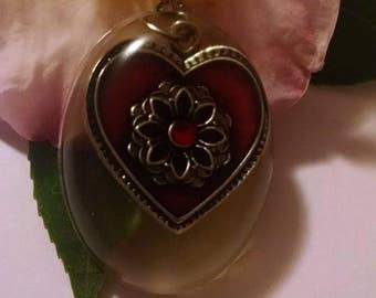 Clearance Sale Red Heart Enamel Pendant with White Ribbon Necklace Gift Idea for Her Love Friend Grandma Mom Valentines Day Oval Resin