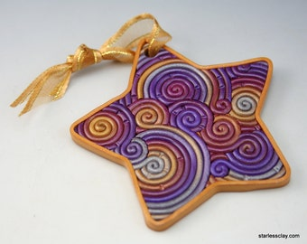 Star Christmas Ornament in Purple, Gold, Silver Fimo Filigree