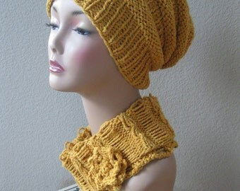 Mustard Yellow Slouch/ Snood and Matching Cowl Set in Wool/ Llama /Silk Handknit by Swedishknit