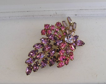 Pretty Purple & Pink Rhinestone Grape Cluster Pin Brooch