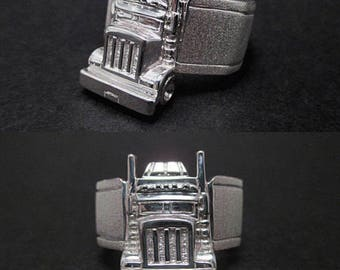 Semi Truck Ring - Big Rig Long Haul Truck Sterling Silver