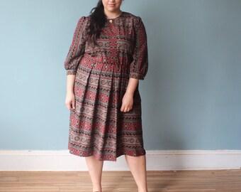 plus size dress | maroon black full skirt shirt dress | 1980s XL - XXL