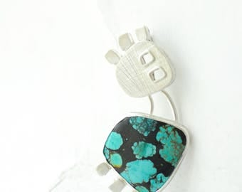 Blue Turquoise Pendant, Modernist Jewelry, Statement Necklace, Unique One of a Kind