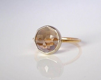 Smoky Quartz Nena Stacking Ring   READY TO SHIP   Handmade recycled 14k yellow and white gold stacker, Birthstone ring