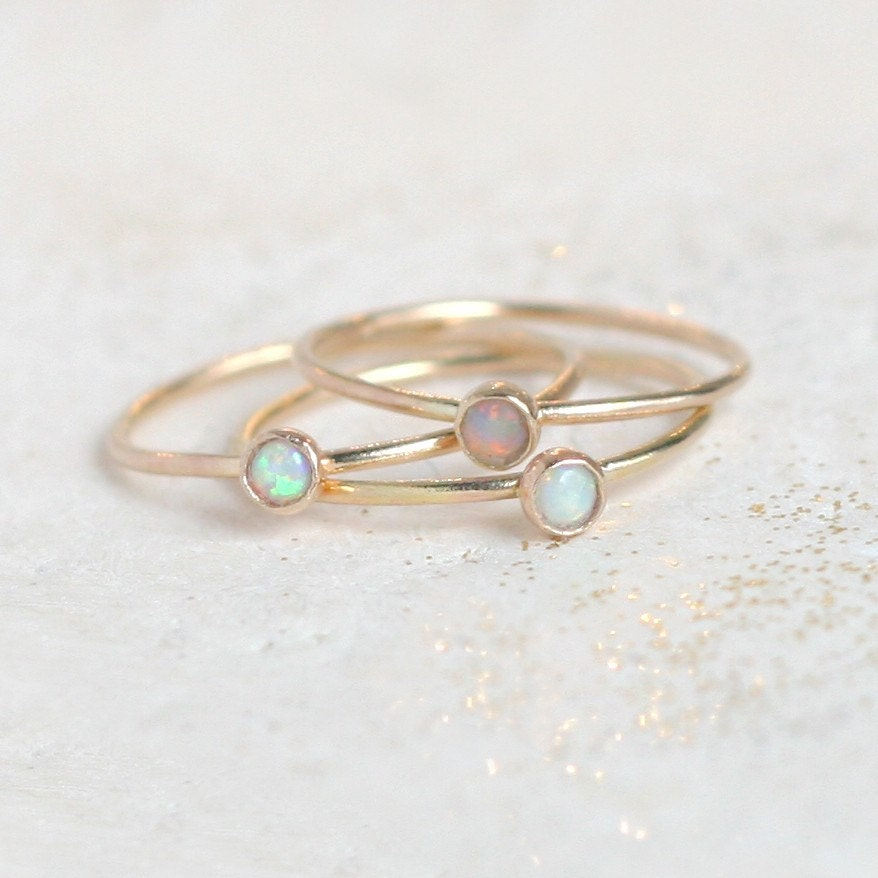 gold opal ring birthstone ring mothers ring one dainty. Black Bedroom Furniture Sets. Home Design Ideas
