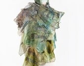 Scarf| Silk Scarf| Wool Scarf| Hand Painted| Hand Dyed| Wool | Women| Gift| Art| Designer| 3d| Texture| Kate Ramsey | Khaki