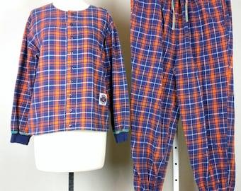 Vintage Purple Orange  Plaid Flannel Pajamas Set L 1990s Esleep