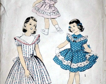 Vintage 50's Advance 7898 Sewing Pattern, Girls' , Size 4, 23 Breast, Spring/Summer Special Occasion 1950's Fashion