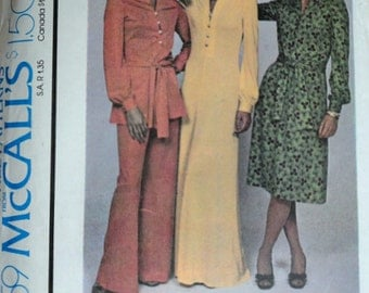 Vintage 70's McCall's 4359 Sewing Pattern, Misses' Dress Or Top And Pants, Size 14, 36 Bust, Uncut, FF, Retro Disco 1970's Fashion