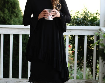 LillyAnnaLadiesApparel KATE Black Shirt Lala Modest