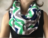 Winter Infinity Scarf, Green, White and Navy Chevron
