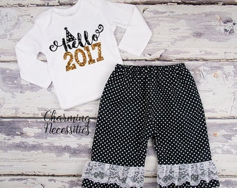 Baby Girl New Years Eve Outfit, Holiday Toddler Clothes Top and Ruffle Pants Set Hellow 2017 Festive Black Gold Glitter Charming Necessities