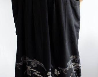 Stunning Zandra Rhodes vintage 1970s portrait print black wrap cotton skirt