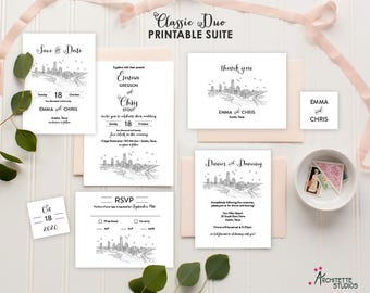 Classic Duo (7) Piece Printable Digital Download City Skyline Wedding Suite - Save the Date - Invitation - RSVP - Reception - Thank You Card