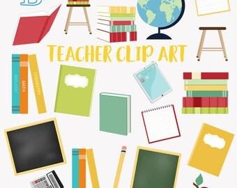 Teacher clip art set, school education, teaching clipart symbols (LC02)