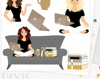 Book lover woman character clipart, reading books clipart set with blonde, brunette and auburn hair (Dixie L149)
