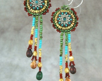 Earrings, beaded, bead embroidery, native inspired, colorful, mosaic,Bead Embroidered Earrings