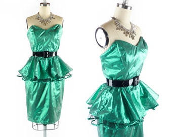 "Vintage 80s Prom Dress // 1980s Prom Dress // Strapless Dress // Peplum Dress // Pin Up Green METALLIC LAME Dress // sz S - up to 26"" Waist"