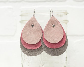 pink leather earrings, repurposed leather, leather earrings, repurposed, dangle, drops, earrings, ombre, handmade,  stacylynnc