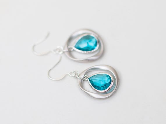 Aquamarine glass ring earrings