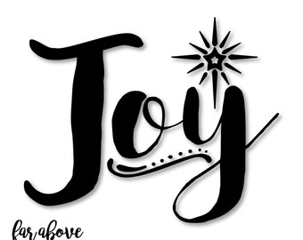 Joy Word Art with Christmas Star - SVG, DXF, png, jpg digital cut file for Silhouette or Cricut
