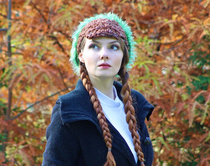 Brown and Green Fuzzy Slouch Tam Hat Billed Newsboy Beanie Girls Winter Hat Great Gift for girl