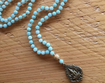 Amazonite on Hand-Knotted Silk Long w/ Brass Shiva Boho Necklace