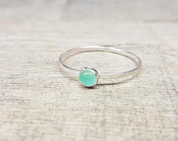 Chrysoprase Ring Sterling Silver Stacking Ring