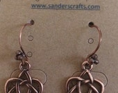 Copper Heart Celtic Knot Earrings, Copper Celtic Knot Earrings, Copper Earrings