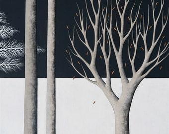 Midnight Walk 3 - Archival 8x8 Art Print - Contemporary Landscape Painting - Night Forest, Trees - by Natasha Newton