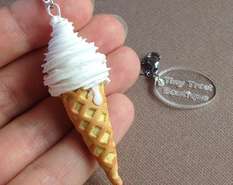 Handmade Ice Cream Necklace - Mr Whippy style - Polymer Clay Charm - Choose Steel or Silver Plated Chain