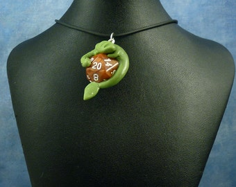 Green and Bronze Dicekeeper Dragon Necklace - D20 Pendant