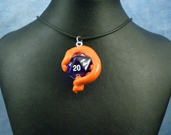 Orange and Purple Sanity Check Necklace - Tentacle Wrapped D20 Pendant