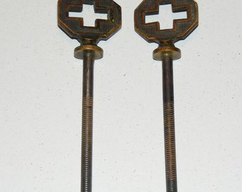 Antique Gothic Cross Brass Finial Findings Lot of 2