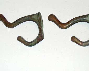 Antique Cast Iron Coat Double Hook with Green Paint Remnant Lot of 2
