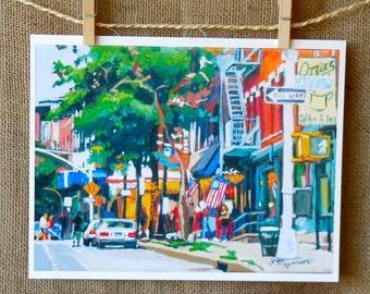 Coffee Cafe Park Slope Brooklyn Fine Art Print  8x10, Garfield Place Kos Kaffe Ozzies  Painting by Gwen Meyerson