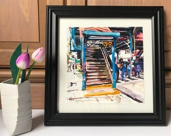 Astoria Boulevard Subway 12x12 inch Square Frame Queens NYC Art Print, Watercolor Print Black or White Wood Frame by Gwen Meyerson