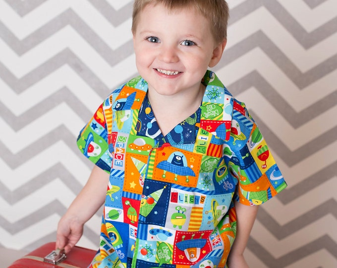Little Boys Shirt - Toddler Boy Clothes - Outer Space Birthday - Aliens - Spaceships - Boutique Boys - Boys Shirt - sizes 3T ...