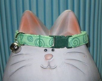 Safety Cat Collar with Breakaway Buckle in Light Green Cotton Fabric with Dark Green Swirls, Abstract Design, Soft, Comfortable, Adjustable