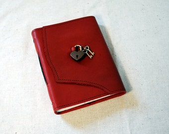 Bright Red Leather Diary with Heart Lock-Medium