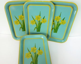 Set of 4 Vintage Metal Trays with Yellow Daffodils, Green Leaves and an Aqua Blue Background